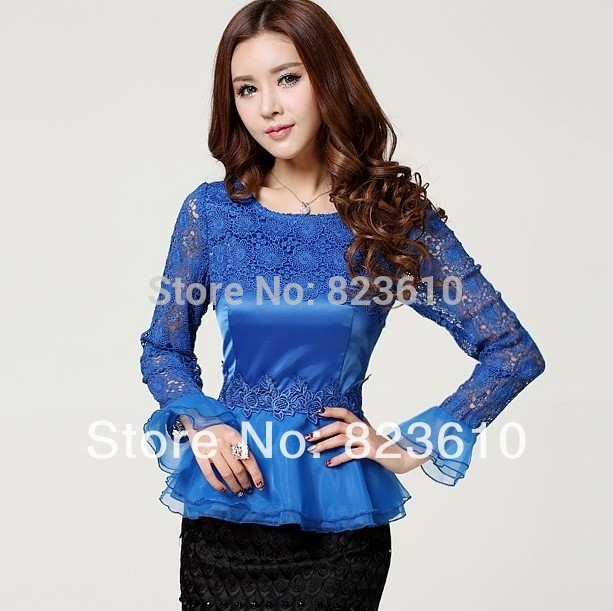 New arrival high quality 2014 spring vintage cutout lace basic shirt ong-sleeve slim chiffon top female Blouses free shipping(China (Mainland))