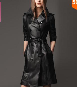 O envio gratuito de 2014 mulheres novas Winter Fashion Green Tea Plus Size magro roupas de couro preto fêmea trincheira de médio longo(China (Mainland))