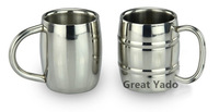 2 pcs of double wall Stainless steel beer mug coffee cup mug novelty mug 300ml/10oz free shipping
