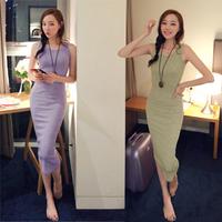 2014 Women Summer Vest Long Dress Slim Solid Color Sexy Cotton Dress 5 Colors S - XXL 8085