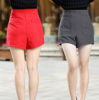 Pocket woolen women's shorts high waist thickening woolen Women loose casual pants