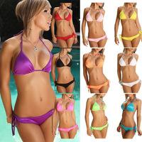 Women's Lady Sexy Beachwear Padded Swimwear Swimsuit Bikini Sets Bathing Suit Halter Top Side-Tie Bottom Push-up Underwire Cups