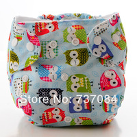 Free shipping! 1 Diaper Cover+1 Insert, Adjustable Washable Breathable Cloth Diaper and Microfiber Insert, Owl Snaps  Diaper