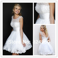 2014 New Arrival Designer Ball Gown Knee-Length Pearls Decoration Lace Appliques Sexy Backless Prom Dresses  YZ040309