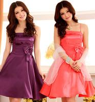 F~3XL!! 3 Colors New Sexy Fashion Plus Size XXXL High Waist Spaghetti Strap Stain Slim Knee-length Princess Bridesmaid  Dresses