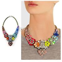 #640 2014 New Arrival Luxury Rainbow Flower Choker Necklace Euro-American Brand Shourouk Statement Necklace Girls
