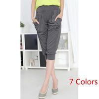 Big Size 2014 Women Cotton Capri pants Summer Harem Pants 7 Colors Gray Green Red S-XL 8002