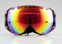 PINK/BLACK FRAME COLOURED DOUBLE LENS SNOW SNOWBOARD SKI GOGGLES NEW