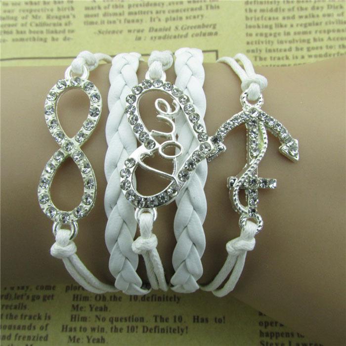2014 new arrive Rhinestone 8 LOVE Heart Anchor Bracelet Infinity Handmade Leather Rope Freeshipping wholesale Puscard