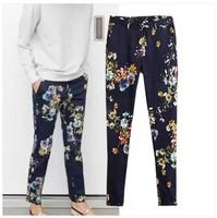 2015 New Arrial Fashion Women's Flower Print Casual Pants All-match Women Harm Pants Suit Pants