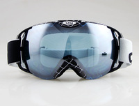 BLACK&WITHE STRIPES FRAME SKI SNOWBOARD GOGGLES ANTI-FOG DOUBLE GRAY BLUE LENS