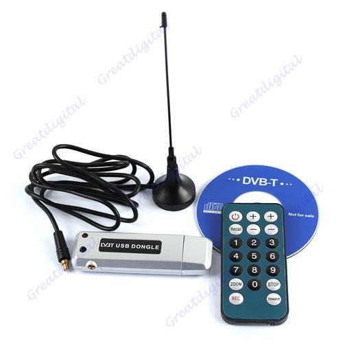 Free Shipping Mini DVB-T Digital USB 2.0 HDTV TV Stick Tuner Receiver Recorder W/Remo