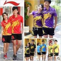 France Order Li-Ning mens or Women's table tennis shirt+shorts ping pong shirt sport run shirt five color Top quality