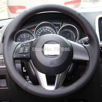 Steering Wheel Cover for Mazda CX-5 CX5 Mazda Atenza 2014 Mazda 3 XuJi Car Special Hand-stitched Black Genuine Leather Covers