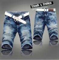 Summer new arrival 2014 Men denim shorts Thin Mid waist Knee-length Casual Straight pants shorts jeans men