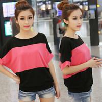 2014 New Korean Version Summer Spell-color Tshirt Batwing sleeve Top Tees MB001