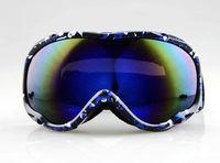 Adult SKI SNOWBOARD GOGGLES DOUBLE ORANGE LENS BLACK AND BLUE FRAME
