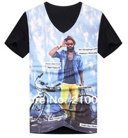 2013 New summer influx of European / American men's short-sleeved T-shirt Slim cotton  MEN T-shirt