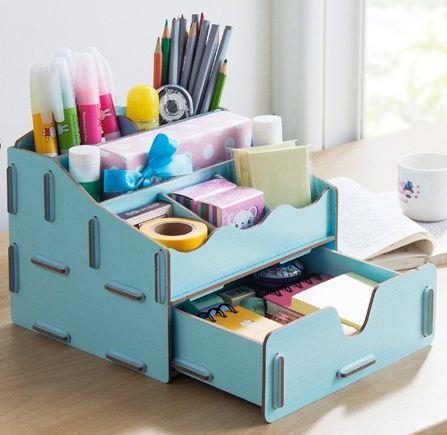 trendy-DIY-desk-organizer-office-supply-solid-wood-Storage-Boxes-Bins