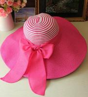 Large brim hat beach cap female summer sunscreen straw hat sunbonnet folding sun hat bow