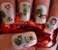 6pcs/ lot 3D Glitter Nail Art Stickers For Nail Tips Decoration Fingernails Decorative Decals Design Beauty Tool