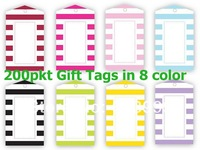 200pkt  x CANDY STRIPE Stripe Party Supplies Partyware Collection GIFT TAGS Candy Stripe Birthday Party Supplies & Decorations