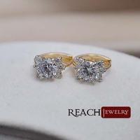 K8076  New Fashion Trendy Real Gold Plated Flower  Earrings Rhinestone Stud Earrings Austria Crystal Earrings For Women
