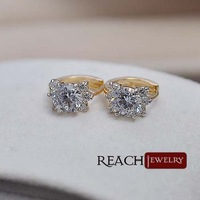 K8076  New Fashion Trendy Real Gold Plated Flower  Earrings Rhinestone Stud Earrings Austria Crystal Earrings For Women