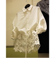 2014 new fashion women blouses thin beautiful lace shirt free shipping c466