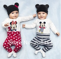 Spring New 2014 Baby Creepers Baby Clothing Carters Baby Ha clothing Brand Mickey Baby Rompers + pants + hats 3pcs/lot  #YYS28-9