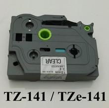 New 2014 p touch tape tz-141, tz141,black on clear tape 18mm TZ 141 compatible TZ tape