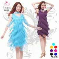 Latin dance adult Latin dance one-piece dress tassel Latin dance one-piece dress 4