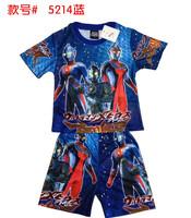 Hot! Summer family fashion 100% cotton short-sleeve tshirt + shorts  cartoon Altman   ultraman t-shirt  children's clothing