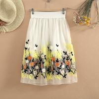 Free Shipping 2014 spring and summer embroidered flower chiffon bust skirt gauze high waist pleated beach midguts fairy skirt