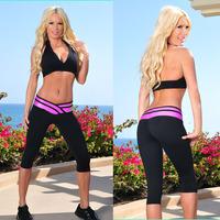 Wholesale Price 2014 New Fashion women Sexy   Yoga Sport Slim Casual V-shape Strenched Women's Fashion Capri Pants S-XL