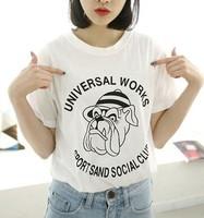 Cute cartoon hat dog printed letters round collar short sleeve women's T-shirt