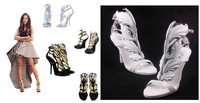 Hot selling 2014 sexy 11cm high heels summer sandals Fashion women's gold leaf gz wings wedding shoes Eur size:35-41