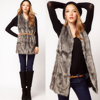 Autumn & Winter Women's faux fur vest Long Style Gray V-collar False Fur Vest  hooks and satin lining Free Shipping