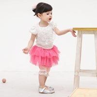 5pcs/lot summer baby girl clothing set princess skirts set kid girls outerwear new 2014 children shirts+pantskirt two color