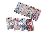 For Samsung Galaxy S5 Premium leather case with Eiffel Tower flowers print cartoon book flip PU leather case with card slots