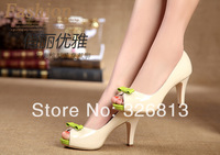 2014 bow color block decoration genuine leather open toe shoes