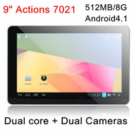 NEW! Dual Core Dual Cameras 9 inch 7021 Tablet PC Android4.1 with WIFI HDMI Multi Languages