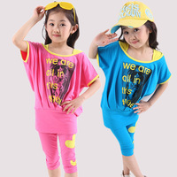 Hot sale girl fashion set summer kids suit bat-sleeve t shirt+capris 2-pieces female child summer set children the sports suit
