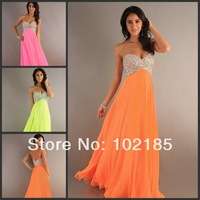 Hot Sale Sweetheart Beadwork Bright Orange on the Floor vestido de festa formal A Line Long Rhinestone Prom Dress Girls Dresses