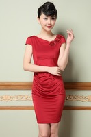 2014 summer new Europe OL Heavy ice silk embroidered V-neck Slim oblique three-dimensional flower dress
