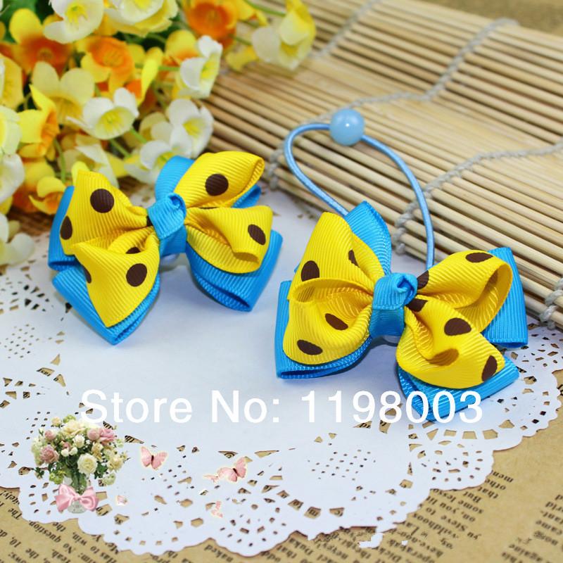 Hot sales 20 pcs/lot cute baby Girl Ribbon bows, hair ropes ,handmade Hair bow, hair accesories(China (Mainland))