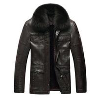 FREE SHIPPING  Wholesale Men's Casual  luxury Winter warm  leather men's coat 108