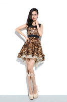 2014 summer women's fashion boutique Fashion Leopard stitching waist dress sweet girl dress flounced dress