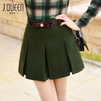 Queen 2014 women's all-match high waist pleated skirt culottes woolen short skirt basic bust skirt