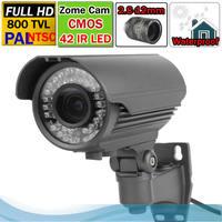 Free Shipping  Full HD 42 IR Led 1/3'' CMOS 800TVL Outdoor Zome Camera Varifocal Lens 2.8-12mm